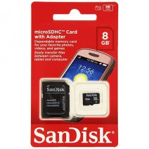 SanDisk 8GB MicroSDHC Memory Card With SD Adapter